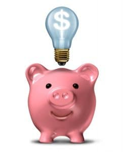 12667595 - pink piggy bank with an idea light bulb with a dollar sign shinning bright on a white background
